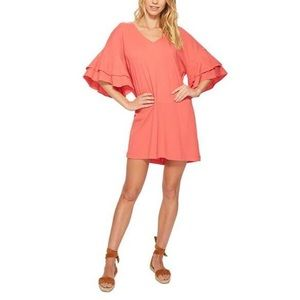 Lucky Brand Ruffle Dress Spiced Coral : M. P043